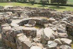 巴鲁米尼,撒丁岛,意大利- 2019年2月23日:Su Nuraxi的废墟在巴鲁米尼附近的在撒丁岛 免版税库存照片