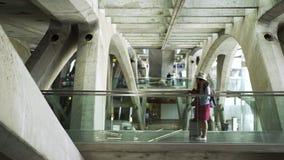 带着手提箱的少女走在火车站的 股票视频