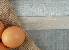 布朗在粗麻布的鸡鸡蛋在木背景 图库摄影