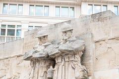 布鲁塞尔/比利时01 02 19:英国战争纪念建筑纪念碑士兵在布鲁塞尔在地方Poelaert 免版税库存图片