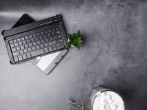 平的位置,顶视图办公室桌书桌,键盘,绿色仙人掌,万事达卡,在灰色背景的咖啡杯 免版税库存照片