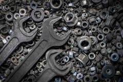 平的被放置的金属工具 库存图片