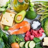 平衡饮食的健康能转化为酮的低碳食物 图库摄影