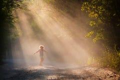年轻女人在阳光下森林公路的,明亮的情感 免版税库存照片