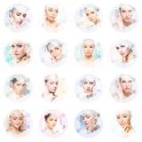年轻和健康女孩的美丽的面孔拼贴画的 整容手术、护肤、化妆用品和整形概念 免版税库存照片
