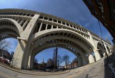 底特律优越桥梁,克利夫兰,俄亥俄 库存图片