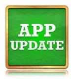 应用程序更新绿色黑板方形的按钮 皇族释放例证