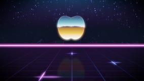 应用程序苹果synthwave减速火箭的设计象  库存例证