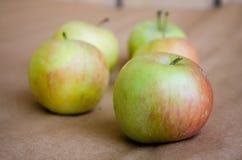 应用 绿色苹果 新鲜的苹果 自然苹果 与红色边的绿色苹果 免版税库存照片
