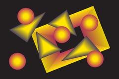 Żółte geometrical postacie z gradientem ilustracji
