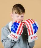 开始把事业装箱 男孩运动员穿戴与美国旗子的拳击手套 美国拳击手概念 儿童运动的运动员 免版税图库摄影