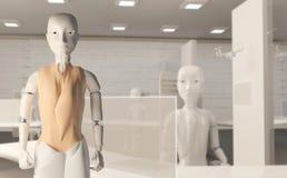 Żeńscy autonomiczni sztucznej inteligencji roboty na krześle w biurze 3d-illustration ilustracji
