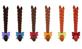 Żeńscy warkocze różnorodni kolory przeciw białemu tłu ilustracji