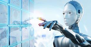Żeński robot dotyka cyfrowego futurystycznego ekran komputerowego fotografia royalty free