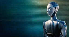 Żeński robot przeciw odbijającemu błękitnemu tłu obraz stock