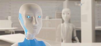 Żeński robot z życzliwym uśmiechem w biurze 3d-illustration sztuczna inteligencja ilustracji