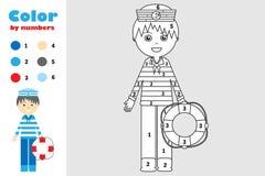 Żeglarz w kreskówka stylu, kolor liczbą, edukacji papierowa gra dla rozwoju dzieci, barwi stronę, żartuje preschool royalty ilustracja