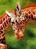 żyrafy afrykańska sawanna Rysunkowa Nafciana farba na papierze Naiwna sztuka sztuka abstrakcyjna Malować nafcianą farbę, dziecko  royalty ilustracja