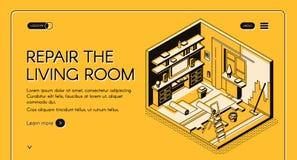 Żywa pokój naprawa pracuje isometric wektorową stronę internetową ilustracja wektor