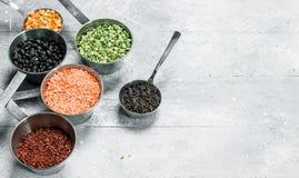 Żywność organiczna legumes różnorodni obraz stock