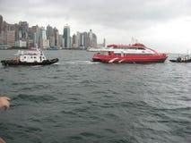 往上环的看法从江边,尖沙咀,九龙,香港 免版税库存照片