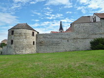 Žatecká Gate - fortification. S from the 15th century. The only preserved gate from the 1500s have been preserved two more cannon towers and a large part stock photos