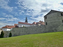 Žatecká Gate - fortification. S from the 15th century. The only preserved gate from the 1500s have been preserved two more cannon towers and a large part royalty free stock images