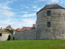 Žatecká Gate - fortification. S from the 15th century. The only preserved gate from the 1500s have been preserved two more cannon towers and a large part royalty free stock photo