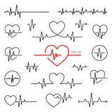 心脏节奏集合,心电图,ECG - EKG信号 库存例证