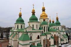 基辅,乌克兰 圣徒索非亚教会的七个圆顶的详细的看法 免版税库存图片