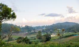 城市和耕种土地全景视图  免版税图库摄影