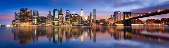 城市点燃纽约 免版税库存照片