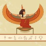 埃及女神Isis 美丽的埃及妇女的动画画象 向量例证