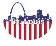 圣路易斯市和美国旗子 皇族释放例证