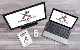 在不同的设备的修理服务概念 免版税图库摄影