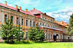 在三位一体亚历山大・涅夫斯基修道院的大厦 皇族释放例证