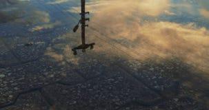 在一个水坑的美好的天空反射用水 股票录像