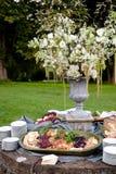 在一个承办宴席的婚礼或其他特别活动的鸡尾酒小时,开胃菜显示 图库摄影