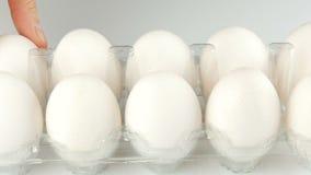 在一个透明塑料盘子的大白色鸡鸡蛋在白色背景 女性手接触其中每一在的鸡蛋 影视素材