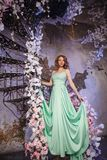 在一件薄菏色礼服的美女模型在开花的春天背景 有一种惊人的构成和发型的秀丽女孩 免版税图库摄影