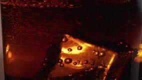 在一杯的浮动冰块可乐-宏观射击的关闭在慢动作 股票视频