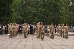 在天的庆祝的乌克兰军方胜利在第二次世界大战中,在Kamianets-Podilskyi 2019年5月9日 免版税库存图片