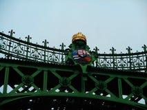在多瑙河的自由桥梁在布达佩斯,Hugary 库存照片