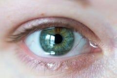 在女性绿色睁开眼睛的特写镜头与放出的泪花  免版税库存照片