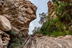 在岩石之间的狭窄的峡谷在马斯喀特,阿曼附近的旱谷小径 免版税库存照片