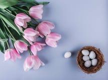 在巢和郁金香花的复活节彩蛋在春天背景 与拷贝空间的顶视图 看板卡愉快的复活节 图库摄影