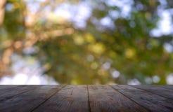 在庭院和自然光背景前面抽象被弄脏的绿色的空的木桌  对蒙太奇产品显示或设计 免版税库存图片