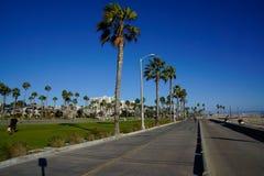 在圣莫尼卡海滩和威尼斯海滩之间的海滩散步 免版税库存图片