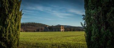 在圣Galgano修道院,托斯卡纳的日落 库存照片