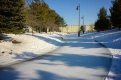 在冬天滑冰足迹 图库摄影